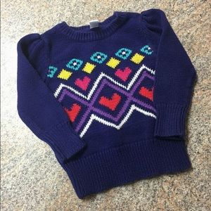 Old Navy navy teal pink pattern knit sweater sz 2t